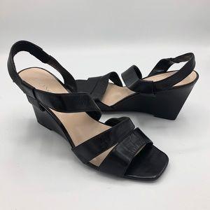 Franco Sarto Black Tami Leather Wedges 8 Strap